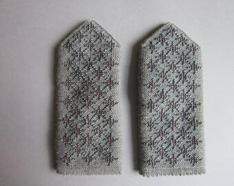 Hand Knitted Mittens Gray Wool Mitens Warm Double Mittens Womens Mittens Cozy Winter Mittens Warm Mittens Fingerless Mittens