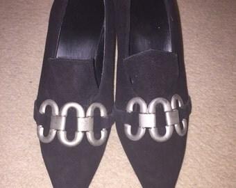Vintage 1980s Winkle Pickers/Goth Suede Kitten Heels