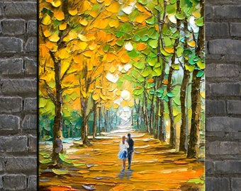 original oil painting,landscape painting,impasto,heavy texture,huge size,palette knife painting- A couple in the  Autumn woods