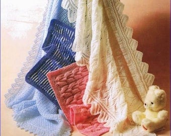 BABY SHAWLS and BLANKETS vintage Knitting Pattern in Double Knit and 4 ply yarn sh09