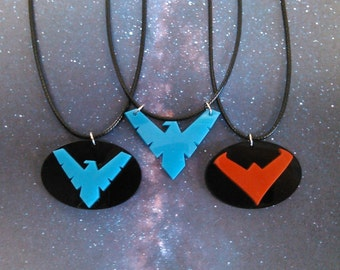 Nightwing Logo Pendant Necklace Blue, Red Night Wing