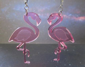 Big Pink Flamingo Laser Cut Hula Luau Dangle Earrings with Closed Leverback Clasps