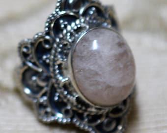 Morganite Sterling Silver Ring Size 7 1/2