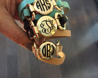 Monogrammed Faux Leather Wrap Bracelet, personalized gifts, Mother's Day