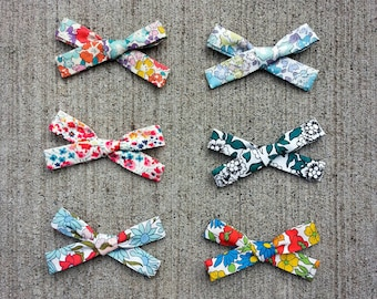 Liberty Of London Hair Bows, Hand Tied, School Girl Bow, Pig Tail Set, Single Bow, Nylon Headband, Alligator Clip