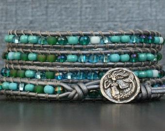 mermaid bracelet - blue and green glass seed beads on silver leather - boho beach wrap bracelet - beach jewelry