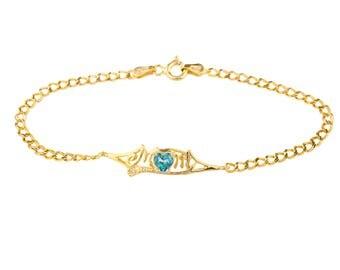 14Kt Yellow Gold Plated Natural Blue Mystic Topaz & Diamond Heart Mom Bracelet