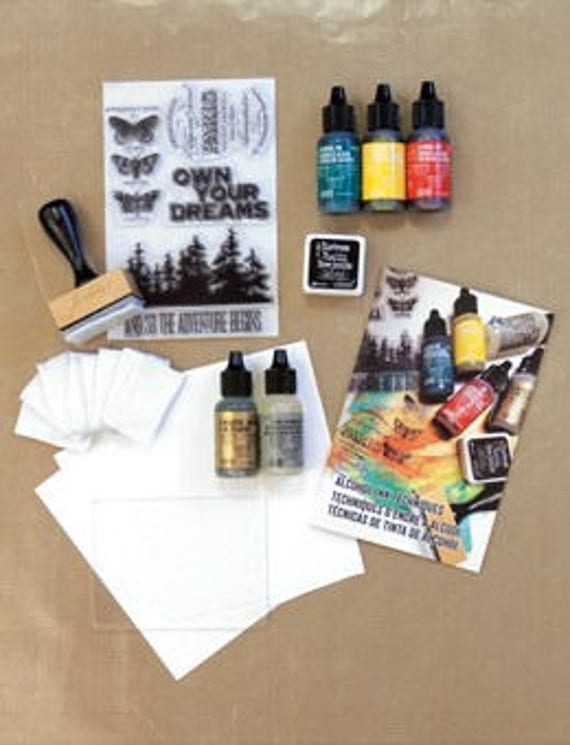 Ranger Alcohol Ink Kit, 29 piece set is perfect for learning alcohol ink techniques and design your own projects