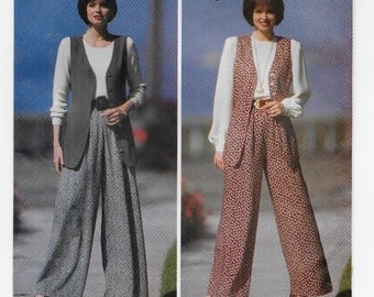 """A Wide, Straight-Leg Pull-On Pants and Long, Princess Seam Vest Pattern for Women: Uncut - Sizes 14-16-18, Bust 36"""" - 40"""" ~ Butterick 6944"""