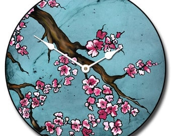 Cherry Blossom Blue Wall Clock