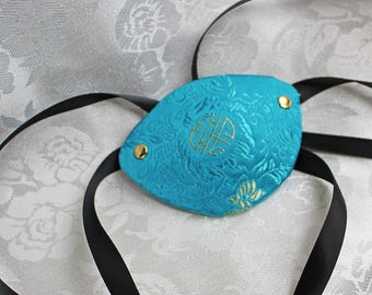 Blue Eye Patch, Turquoise Blue Satin Brocade Pirate Eye Patch