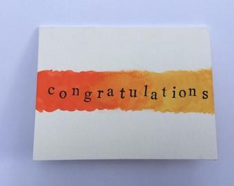 Handmade Orange and Yellow Congratulations Watercolor Greeting Card