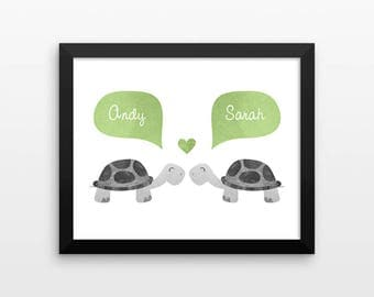 TURTLE Couple Personalized Art Print, Engagement Gift, Unique Wedding Gift for Couple, Valentines Gift, Couples Gift, Animal Couple Wall Art
