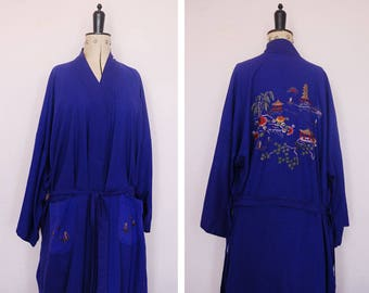 Vintage Chinese hand embroidered blue raw silk robe - Chinese Dragon silk robe - Chinese kimono - Chinese silk kimono Chinese dressing gown
