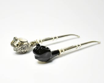 """Couple Elephant Tobacco Pipe with Nickel Silver Pipe Handle, Smoking Pipe 5"""""""