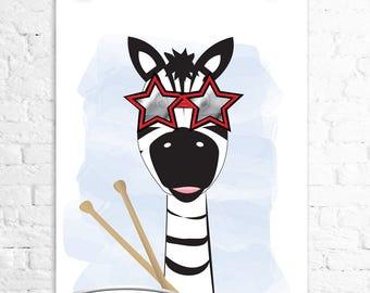 Rock Star Zebra Drums Star sunglasses 8x10 print kids wall art