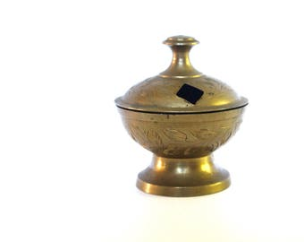 Vintage small brass incense burner from India - Etched Brass Incense burner from India