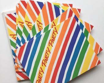 Rainbow invitations, 4x5 hallmark invitations, NOS rainbow invites, vintage rainbow party invitations, rainbow party, rainbow party supplies