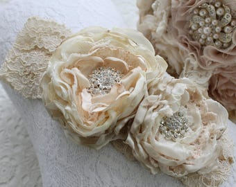 Baby Headband champagne stain beige/ivory lace headband double satin rose detail.