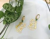 Boucles d'oreilles ıKitsunéı renards animaux nature origami girly bohème poétique singulier femme anniversaire cadeaux été doré perles