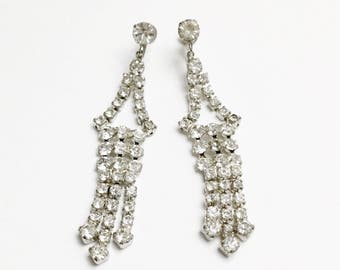 Vintage Dazzling Prong-Set Rhinestone Long Dangle Earrings