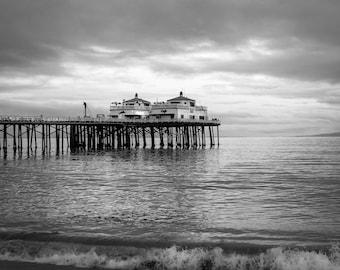 Black and White Malibu Photography Prints Pier Beach Decor Minimalist California Ocean Nautical Coastal Style Surf Seascape Los Angeles Art