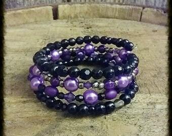 Purple cuff  bracelet, black cuff bracelet, bohemian bracelet, memory wire bracelet, beaded cuff bracelet, wrap bracelet, christmas gift,