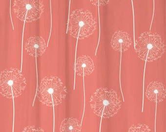 Dandelion Floral Shower Curtain You PICK COLORS Standard Or Extra Long Length 70 78