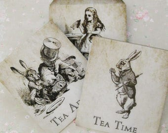 Tea Bag Envelopes - Rustic Alice In Wonderland (3 Designs!) - Qty of 6 Envelopes