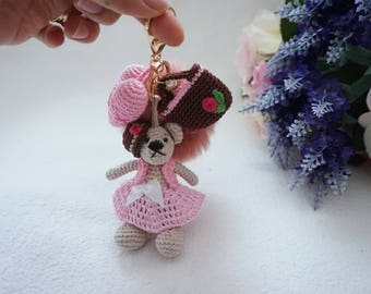 Mini bear bagcharm crochet / bag accessories / charm crochet