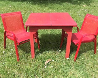 cute red children's table & chair set. metal chairs, wooden table (contact us for delivery quote)