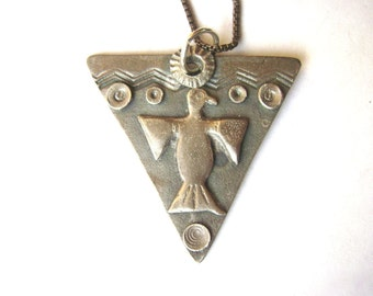 new triangle with thunderbird pendant necklace