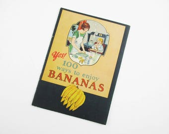 A Fun 1923 'Bananas' Booklet - 16 Pages of Recipes - '100 Ways to enjoy Bananas' - New Orleans Publisher - Immaculate Little Recipe Booklet
