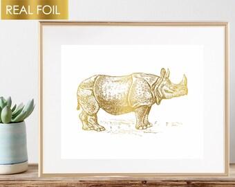 Rhino Art, Rhinoceros, Gold Nursery Print, Nature Art, Gold Foil Poster, Zoo Animal, Gold Safari Animals, Hunting Lodge Decor, Boys Room Art
