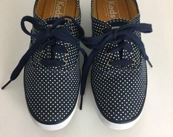80's  Vintage Keds Tennis Shoe Size 6 Woman's Canvas Boat Shoe Navy Polka Dot