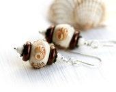 50%off SALE Beach Earrings, Seashell Earrings, Beige Glass Earrings, Beach Jewelry, Handmade lampwork, sterling silver, by MayaHoney