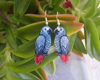 Parrot African Grey Red Timneh Cute Bird Animal Wildlife Nature Metal Dangle Earrings
