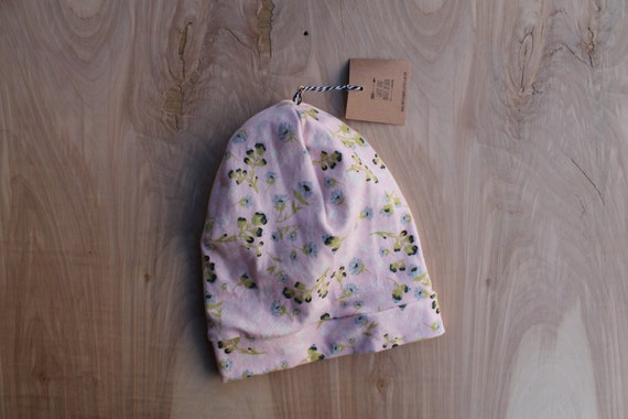 Baby slouchy beanie- pink floral- slouchy hat- baby slouchy toque- hipster baby clothes- trendy baby clothes- gender neutral