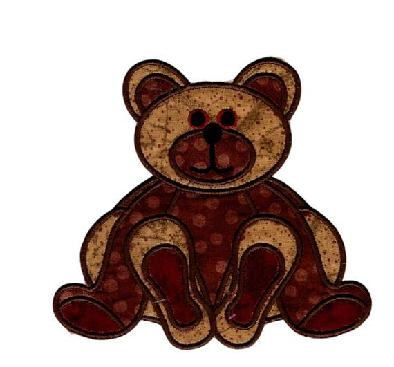 Iron On Patches and Appliques, Front and Back Brown Bear Embroidered Patches, FREE SHIPPING