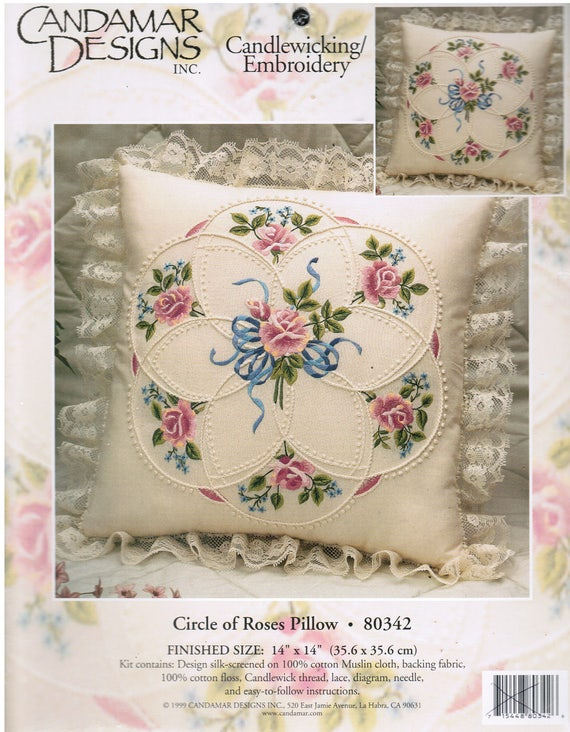 Candamar Designs Hand Embroidery Kit - Candlewicking - Circle of Roses Pillow 80342
