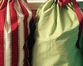Green houndstooth Santa sack