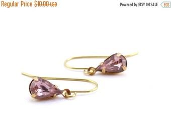 20% OFF Sale Petite Light Pink Rhinestone Earrings, Pink Teardrop Earrings,  10 Dollar Gifts