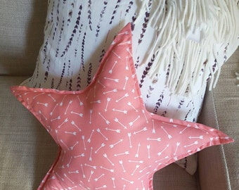 Star shaped pillow.  Decorative star pillow.  Nursery decor.  Coral pink star pillow.