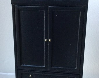 "Dollhouse Miniature 1"" Scale Black  Armoire  (AT)"