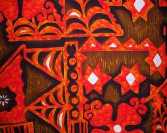 "Vintage Orange Brown White Polynesian Tiki Motif Hawaiian Barkcloth Fabric 129"" X 44"" 3.5 Yards Hawaii Mod Tribal Bark Cloth"
