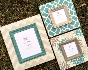 custom painted wood distressed frame set | gallery wall art grouping | 8x10 | 5x5 | Mother's Day gift | bedroom decor | turquoise & gray