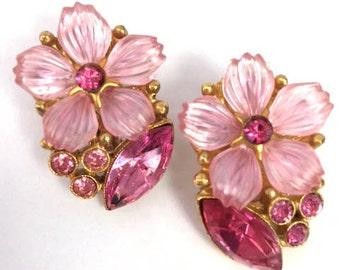 Pink Rhinestone Earrings Flower Earrings Clip On Pink Crystal Glass Earrings 1960s