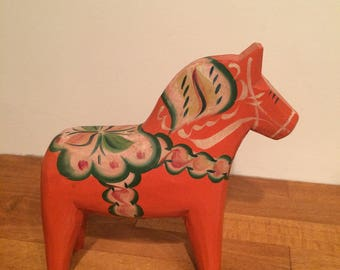 Large wooden hand painted Dala horse