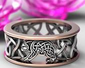 Sterling Silver & 10K Bear Wedding Band, Celtic Bear Ring, Mens Wedding Band, Irish Wedding Ring, Celtic Knot Ring, Custom Size CR-1126