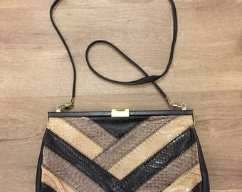 Jane Shilton Vintage Snake Skin and Leather Bag